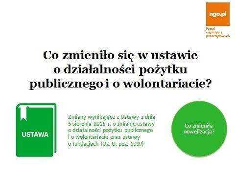 Ostatnie zmiany w prawie: ustawa o pożytku - poradnik.ngo.pl