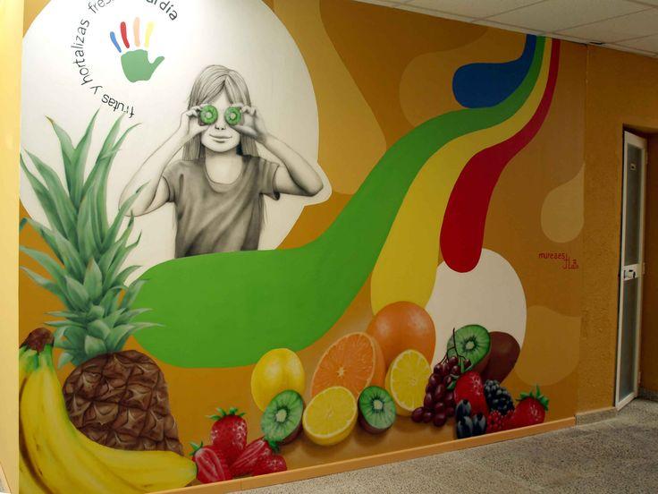 """Mural decorativo para asociación """"5 Al dia"""", más trabajos similares en: http://murea.es/decorativos-y-exteriores/"""