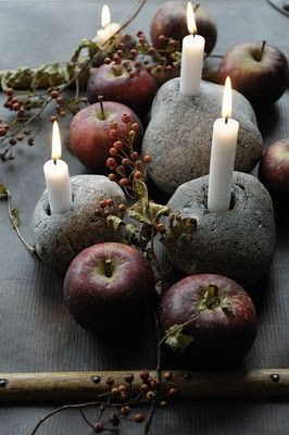 Samhain: Ancient Celtic Celebration on November 1st to mark the first day of winter. Candles in Rocks