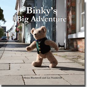 Binky Bear's first book, Binky's Big Adventure is published in 2011.  It is photographed in the beautiful Georgian town of Alresford in Hampshire, UK.