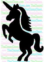 Pretty unicorn glitter tattoo stencil...