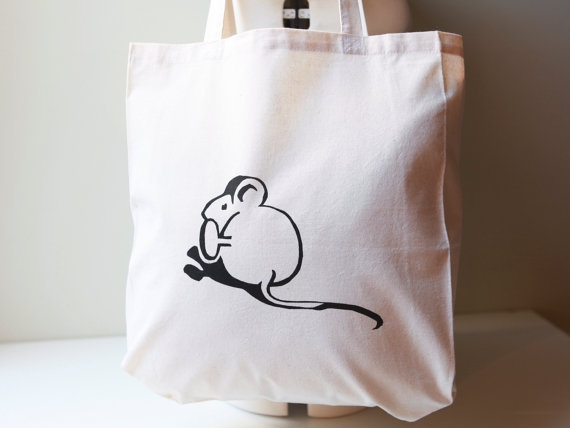 Mouse Tote Shopping Bag via #Etsy #BMouse #Bag #Shopping #Tote