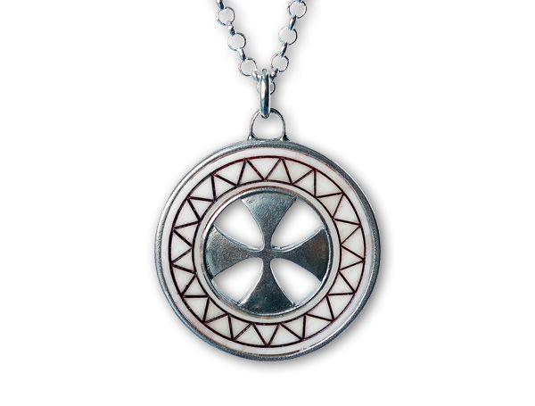 St. Mary's Cross Pendant. Modeled on the concecreation cross of St. Mary's Church in Sastamala, Finland. Elk bone, silver. Details in Online shop.