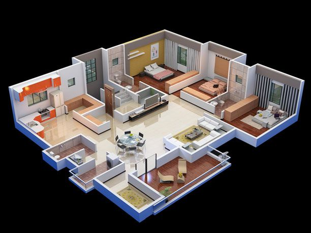 Ved Villas 3D Plan House plans, House, House styles