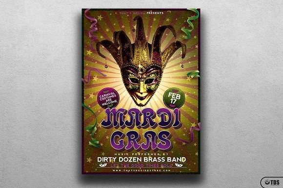 Mardi Gras Flyer Template V2 by Thats Design Store on @creativemarket