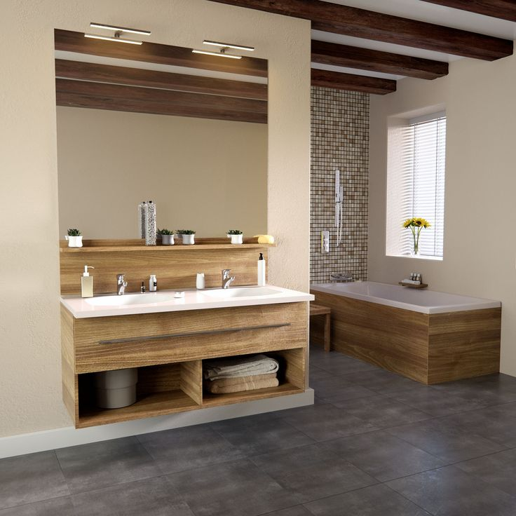 Meuble salle de bain chene vert made in france niches for Mobilier salle de bain bois