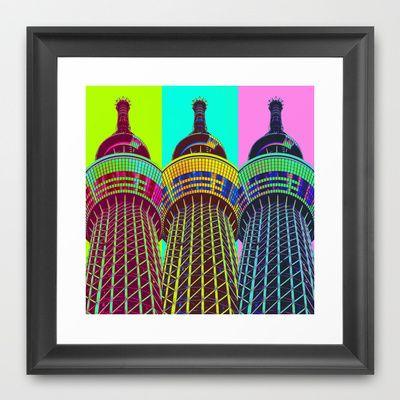 Art Of Tokyo Sky Tree Framed Art Print by Stoneriver - $32.00  #japan #tokyo #asakusa #travel #world #tokyoskytree #tower #colorful #neon #architecture #present #framedprint #pop #popart