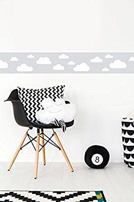Marvelous lovely label Bord re selbstklebend WOLKEN GRAU Wandbord re Kinderzimmer Babyzimmer mit Wolken in versch