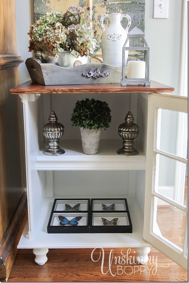 This End Table Has A Cabinet With Shelves That Are Perfect For