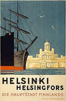 Helsinki vintage Finland travel poster