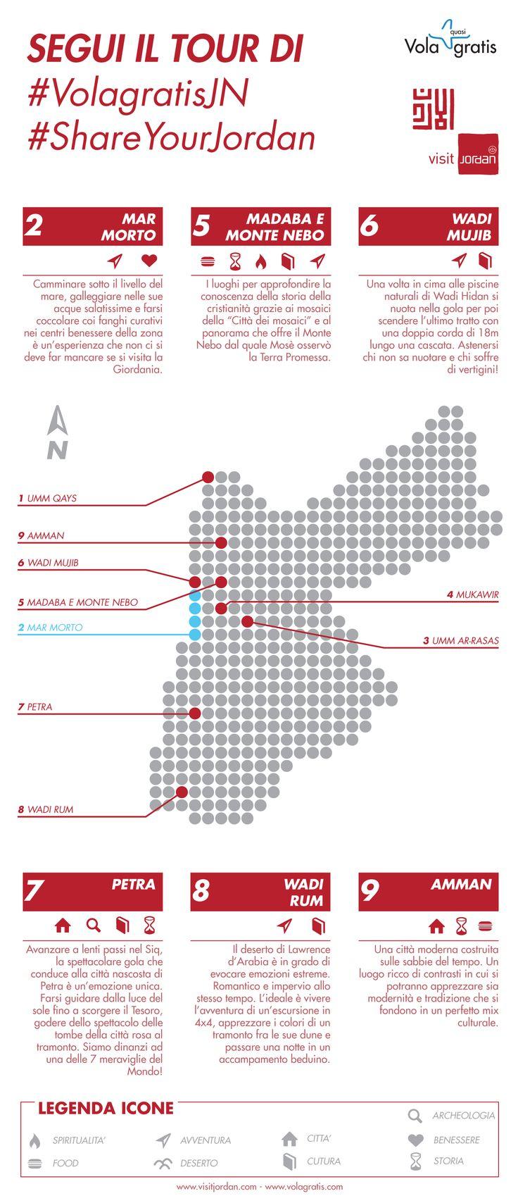 Quali sono le tappe del nostro #Blog #Tour in #Giordania? Ve lo diciamo con questa #infografica #VolagratisJN #jordan