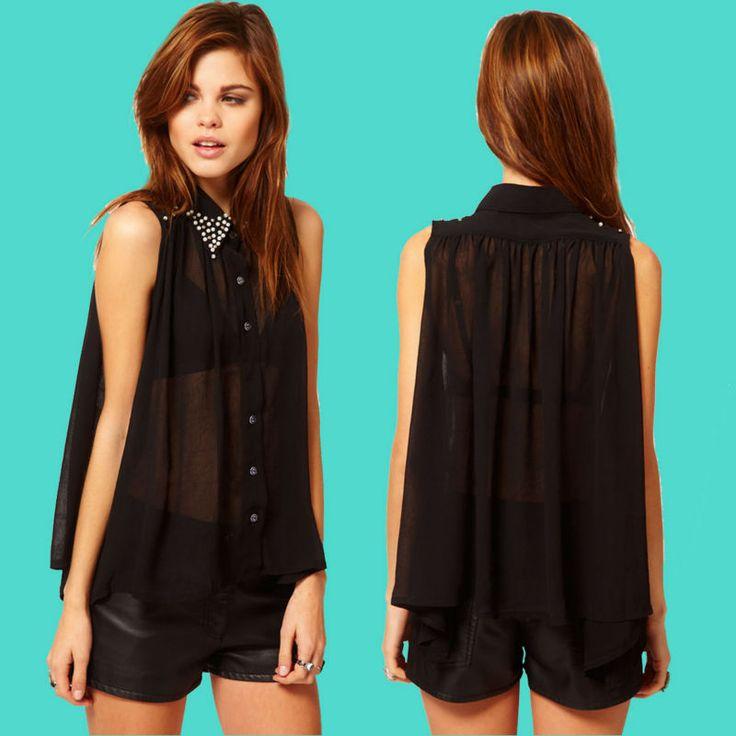 de moda 2013 pura semi negroimagen de gasa blusas de moda-Blusas Mujer-Identificación del producto:736437141-spanish.alibaba.com