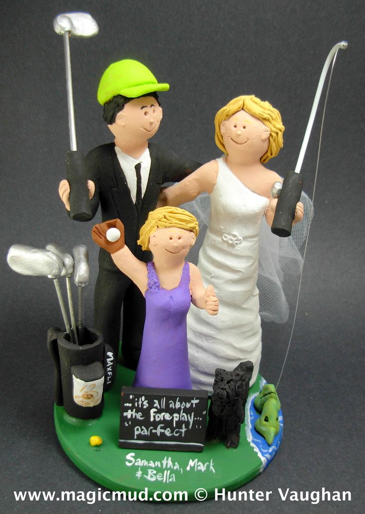 Daughter with Bride and Groom Wedding Cake Topper http://www.magicmud.com   1 800 231 9814  magicmud@magicmud.com   $235  https://twitter.com/caketoppers         https://www.facebook.com/PersonalizedWeddingCakeToppers   #golfer#golfing#golfersWedding#golf#wedding #cake #toppers #custom #personalized #Groom #bride #anniversary #birthday#weddingcaketoppers#cake toppers#figurine#gift#wedding cake toppers