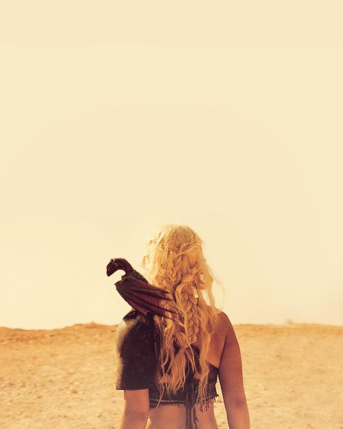 """Daenerys who is """"Mother of Dragons."""" She can go from tough warrior to beautiful queen. She is known for her braids"""