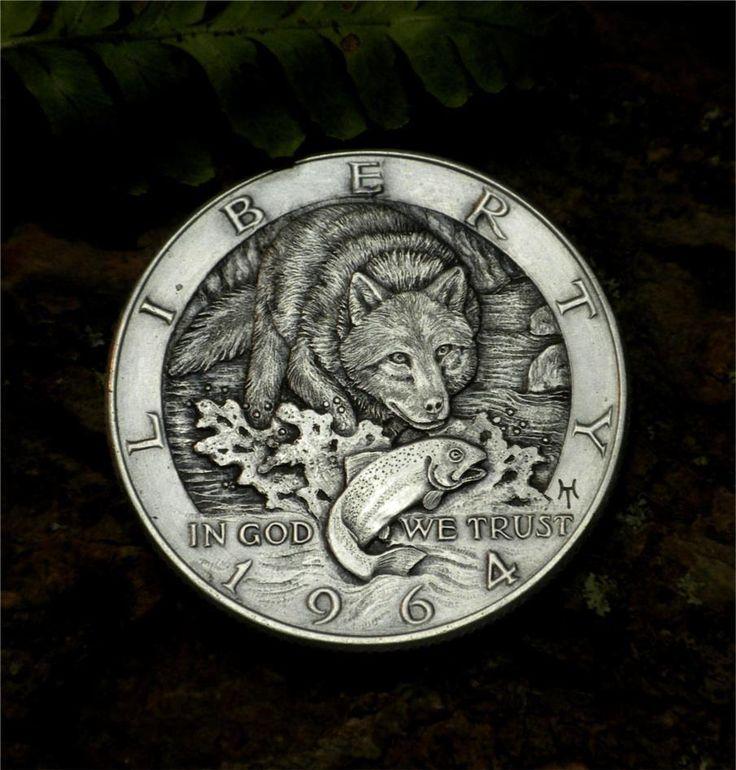Original Hobo Nickel Kennedy Half Dollar Wolf by Howard Thomas OOAK