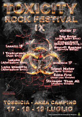 Il 17, 18 e 19 luglio torna nella splendida cornice dell'Area Camping presso il galoppatoio di Tossicia ai piedi del Gran Sasso la nona edizione del Toxicity Rock Festival