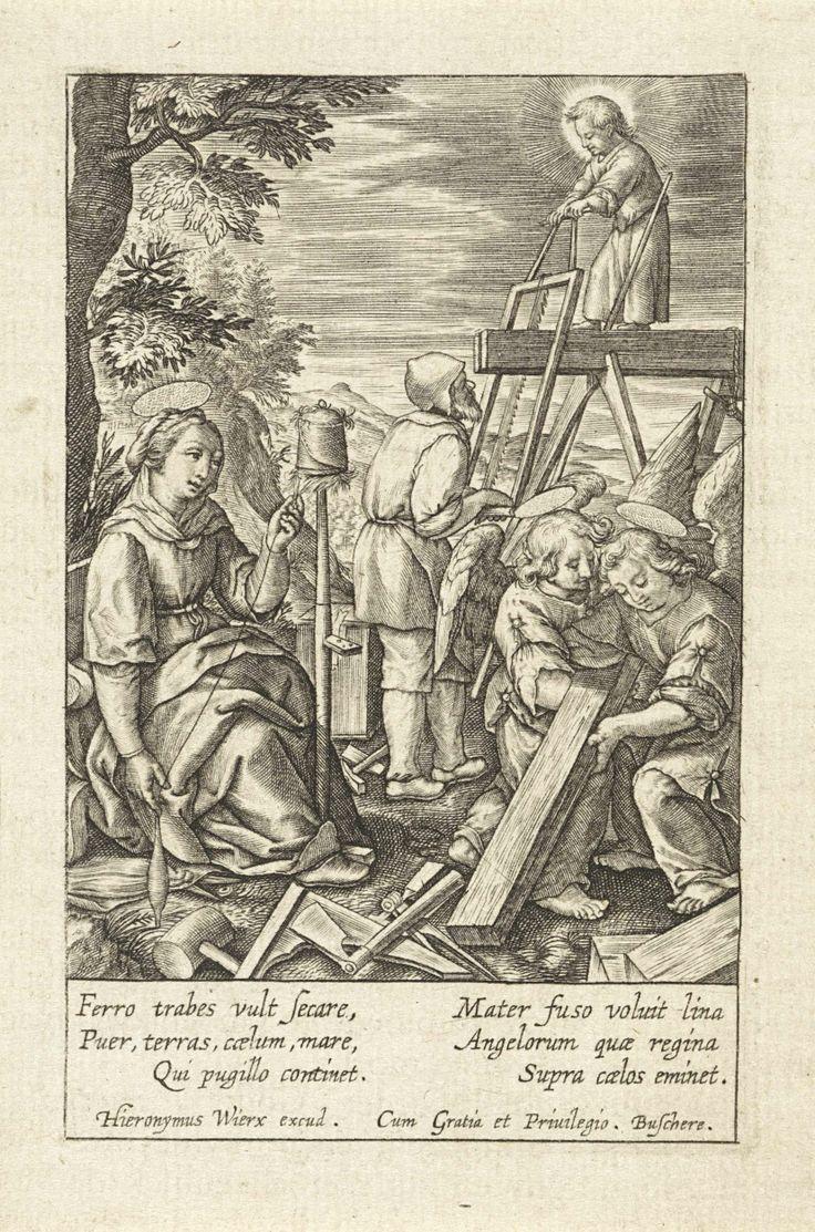 Christuskind helpt Jozef met zagen, Hieronymus Wierix, 1563 - voor 1619