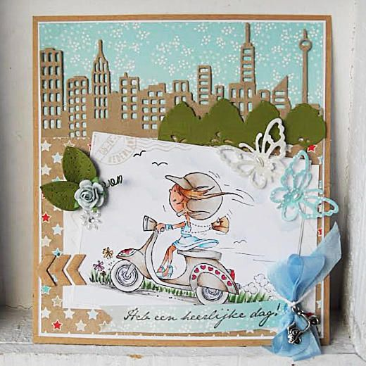 Marianne Design Clear Stamps - Scooting Daisy DDS3349
