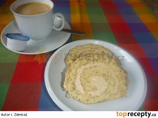 Ořechová roláda s kávovým krémem