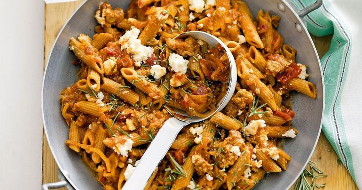 Lamb, caramelised onion and rosemary penne.