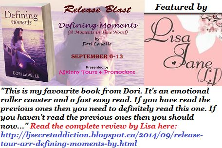 Drop by @LJ_ScrtAddction LJ's Secret Addiction blog and Checkout @dorilavelle's new #MomentsInTime book Defining Moments, read her #Review and also enter #Giveaway to win $10 Amazon GC + the complete #MomentsInTime novella collection! http://ljsecretaddiction.blogspot.ca/2014/09/release-tour-arr-defining-moments-by.html  #ReleaseBlast #Romance