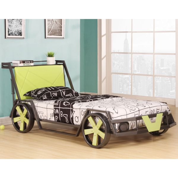 Spencer Collection Silver / Green Finish Metal Childrenu0027s Racing Car Set  Twin Bed Frame Set
