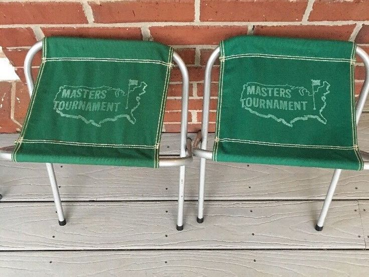 Vintage MASTERS Augusta Golf Green Folding Stools Chairs Spectator Set of 2 #Masters
