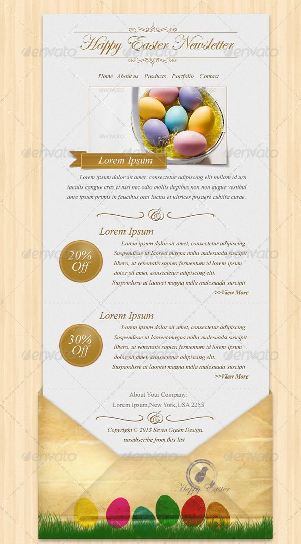 Happy Easter Newsletter PSD Template #easter #gift #newsletter