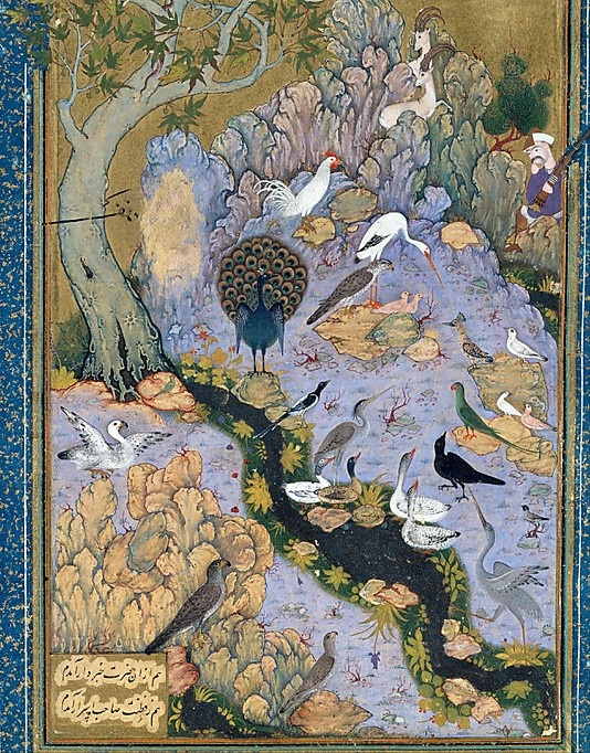 """The Concourse of the Birds"", Folio from a Mantiq al-tair (Language of the Birds)  Habiballah of Sava  (active ca. 1590–1610)    Poet:      Farid al-Din `Attar (ca. 1142–1220)  Object Name:      Illustrated manuscript, folio  Reign:      Shah `Abbas I (1587–1629)  Date:      ca. 1600  Geography:      Iran, Isfahan  Medium:      Ink, opaque watercolor, gold, and silver, on paper"