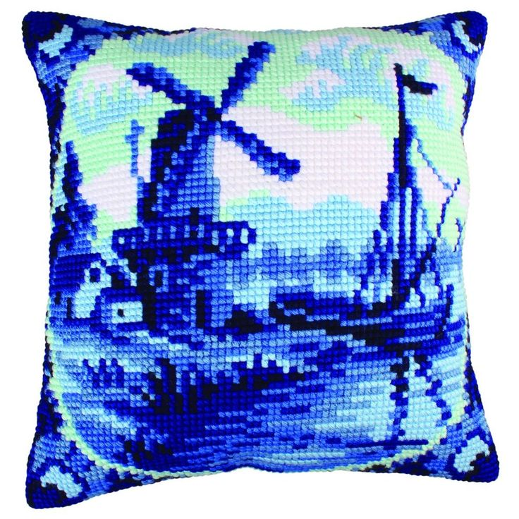 Delftware : Collection d'Art Chunky Cross Stitch Cushion Front Kit40x40cm CD5200