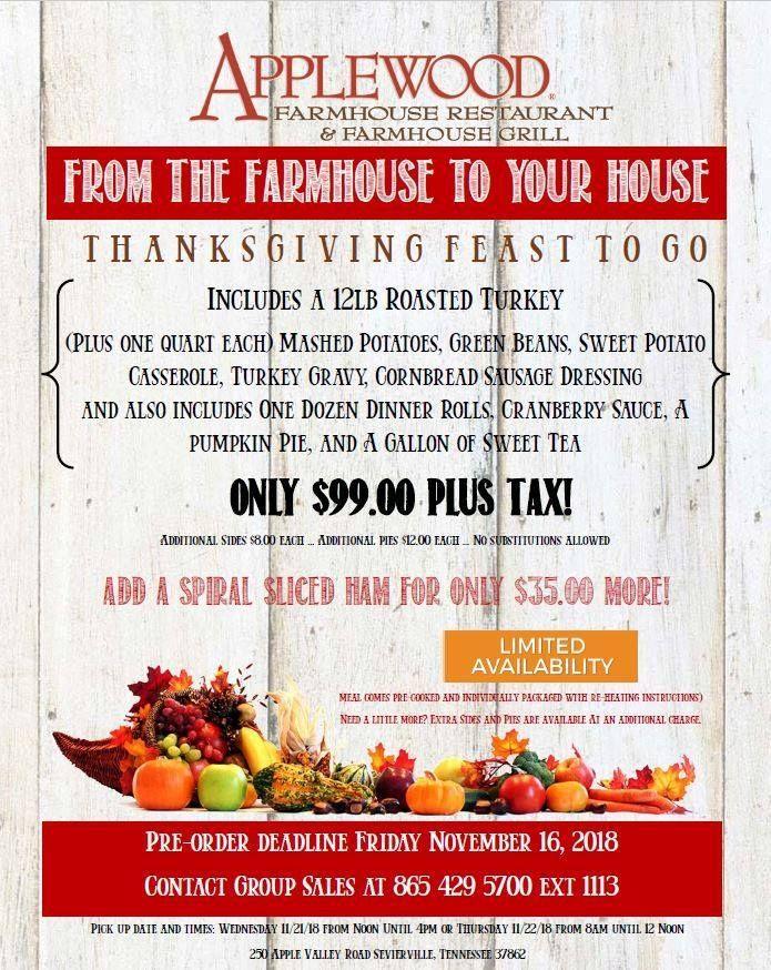 Applewood Farmhouse Restaurant Serves To Go Thanksgiving Feasts Thanksgiving Feast Applewood Sausage Cornbread Stuffing