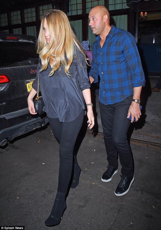 New parents:Derek Jeter and Hannah Davis enjoyed a break from sleepless nights and nappy changing duty as they stepped out for dinner in New York City on Monday, just under four weeks after welcoming baby girl Bella Raine