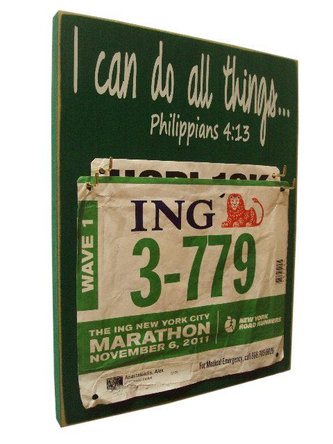motivational race bib holder by runningonthewall on Etsy