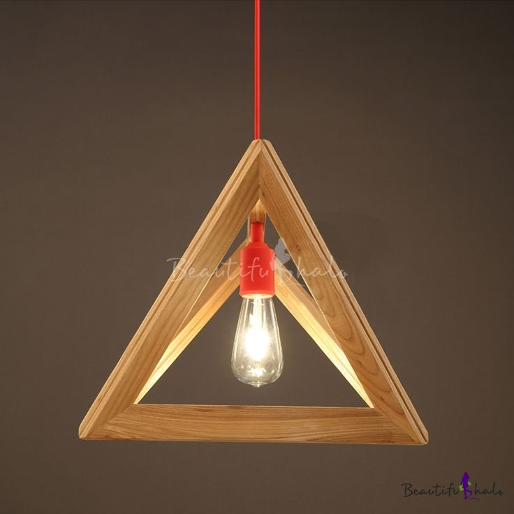 """Geometric 11.8""""Wide Wood Designer Pendant Light with Red Cord"""