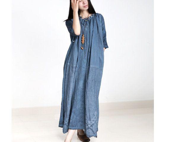 Womens losse blauwe Fitting geborduurde Jacquard vouwen linnen jurk met zakken…