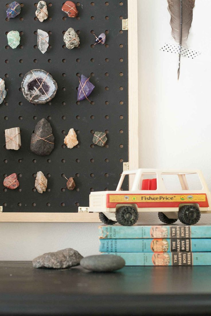 DIY rock collection display