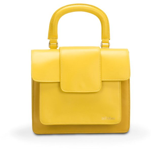 Bill Blass Becky Square Top Handle Bag (£370) ❤ liked on Polyvore featuring bags, handbags, tote bags, lemon, satchels, leather totes, leather tote handbags, leather handbags, leather satchel bags and handle bag