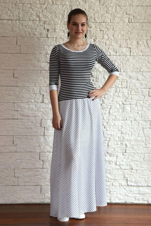 Černobílé maxi šaty