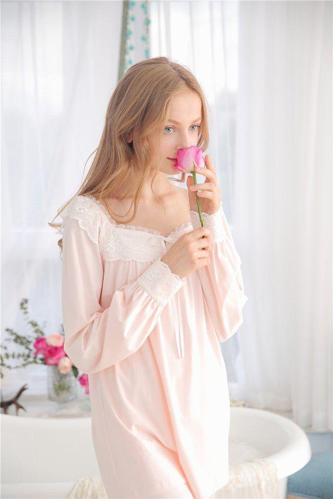 Pilgrim Soul Cotton Lace Vintage Night Suit Women Spring – Prinsty