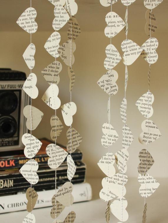Hochzeit Dekorationen, Papier-Girlande, Buch Seite Girlande, Märchenbuch Hochzeit, liebste Girlande, kleine Herzen, 10 Fuß lang