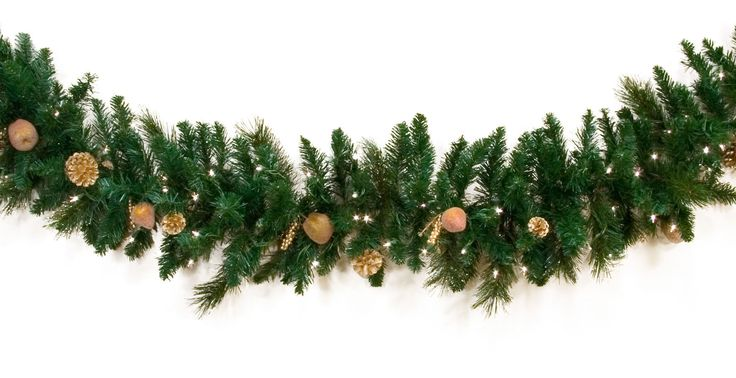 for $59.99. Pre-lit Christmas Garland with Clear high quality lights. Harvest Gold Deluxe Indoor garland, with Green tips and PVC needles for festive Christmas greenery.