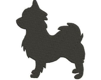 Long Haired Chihuahua Silhouette Embroidery Design in 2 Sizes - Instant Download