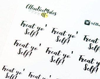 Tratar Yo' etiquetas engomadas del uno mismo (efecto de Letras de mano)