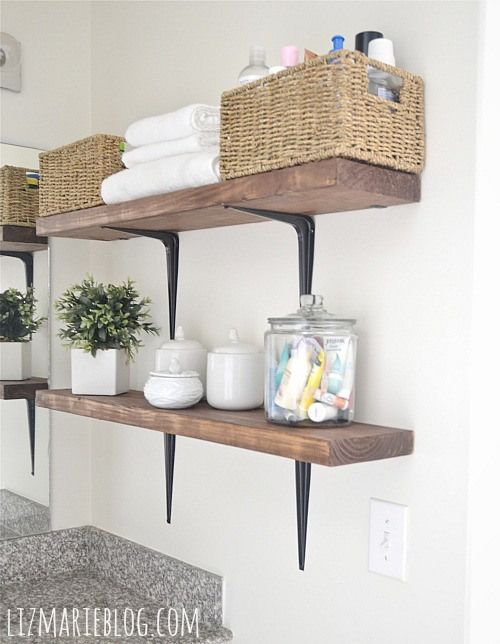 DIY Rustic Wood & Metal shelves. This would be great above the washer and dryer!