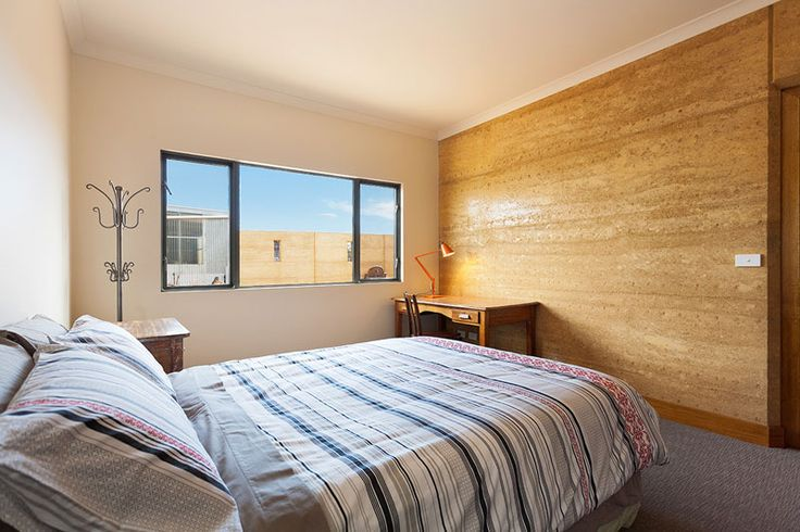 Rammed Earth Bedroom Feature Wall