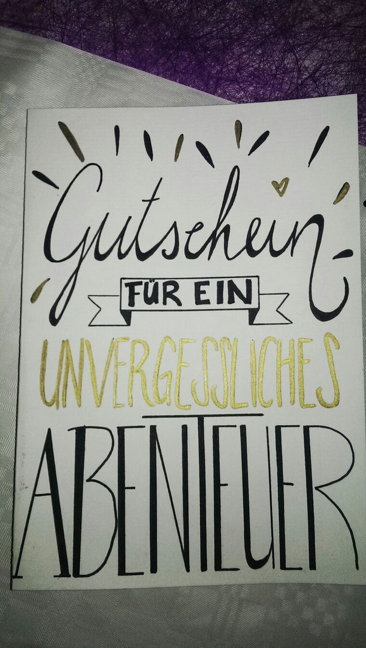 "Another handmade, handlettering card. ""Voucher for an unforgettable adventure"""