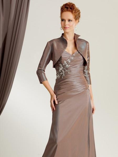 Elegant mermaid sweetheart floor length brown taffeta mother of the bride  dress with jacket Drees Jolliff