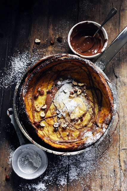 Dutch Baby Pancake with chocolate and hazelnuts x