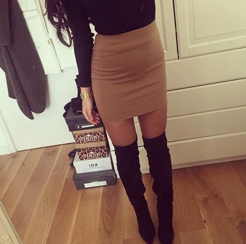yourfashionfairy Black Blouse / Khaki Skirt / Thigh High Boots Source:goo.gl