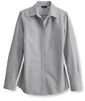 Lands' End Women's Regular Long Sleeve Oxford Shirt-Charcoal
